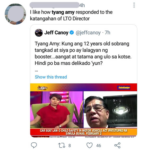 twitter: netizen qrted jeff canoy post, praised amy professionalism