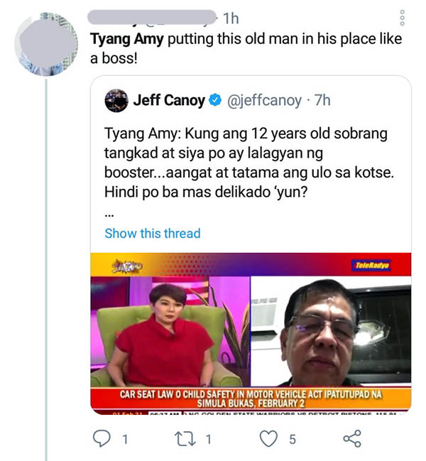 twitter: netizen qrted jeff canoy post, praised amy way of handling situations