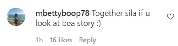instagram comment: netizens speculate if bea and dominic are together