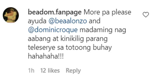 instagram comment: netizens assume that bea and dominic are together in amanpulo