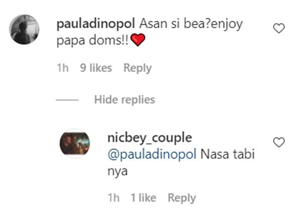 instagram comment: netizens ask dominic about bea