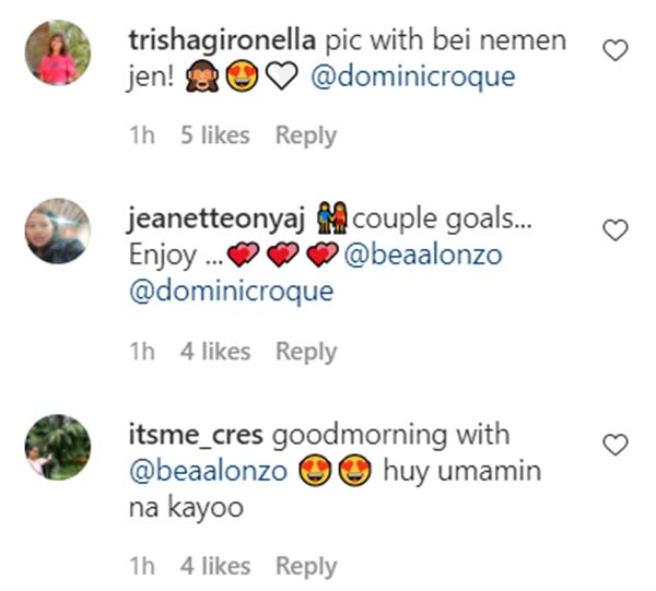 instagram comment: netizens get kilig with bea alonzo and dominic matching photos