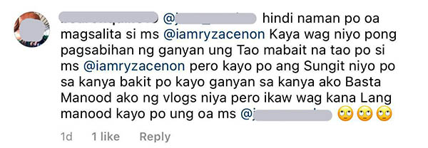 facebook comment: netizens defend ryza cenon from bashers