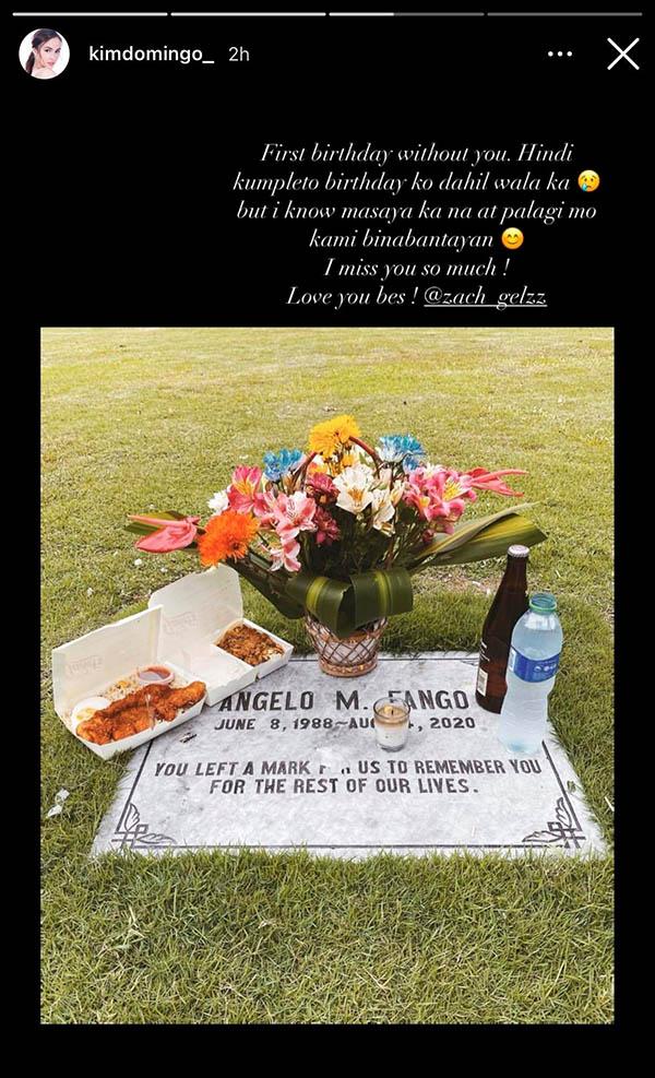 kim domingo visits best friend grave