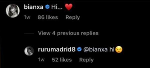 ruru and bianca instagram comment exchange