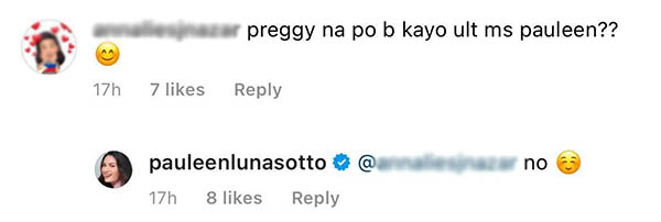netizen asks pauleen if she is pregnant, pauleen luna responds