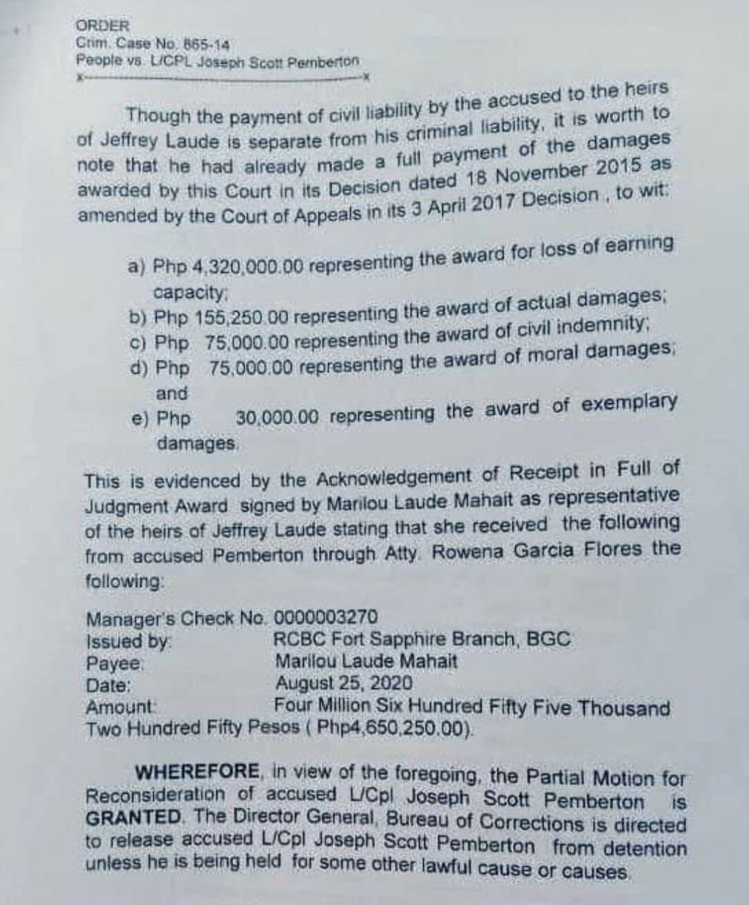 civil liability document of pemberton to laude family