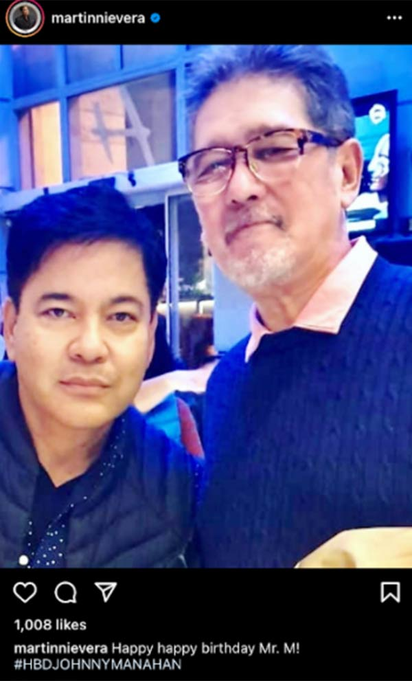 Martin Nievera greets Johnny Manahan on 74th birthday