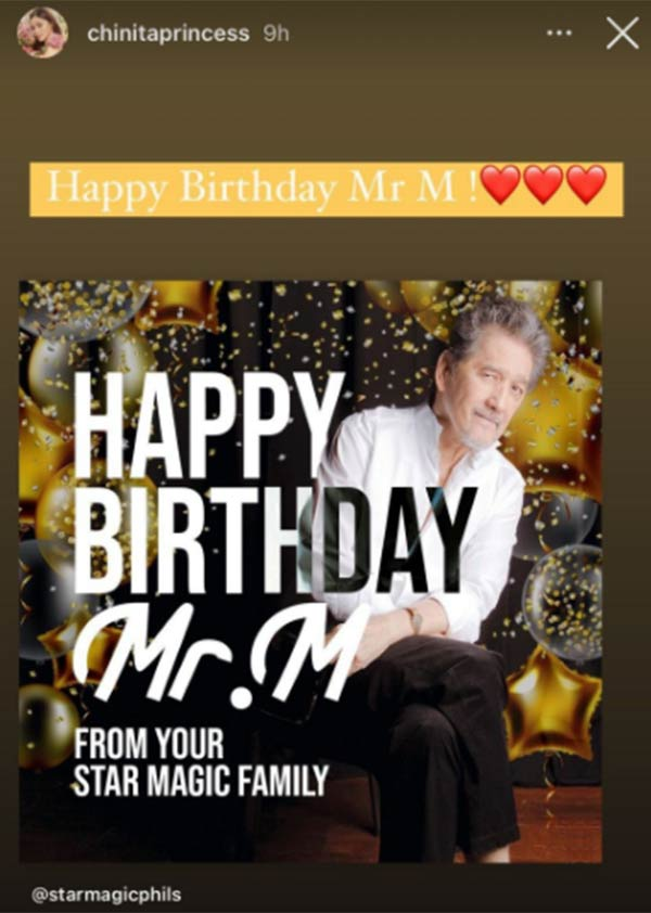 Kim Chiu greets Mr. M on 74th birthday