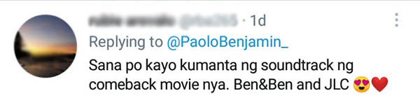 fan wishes Ben&Ben to sing JLC comeback movie