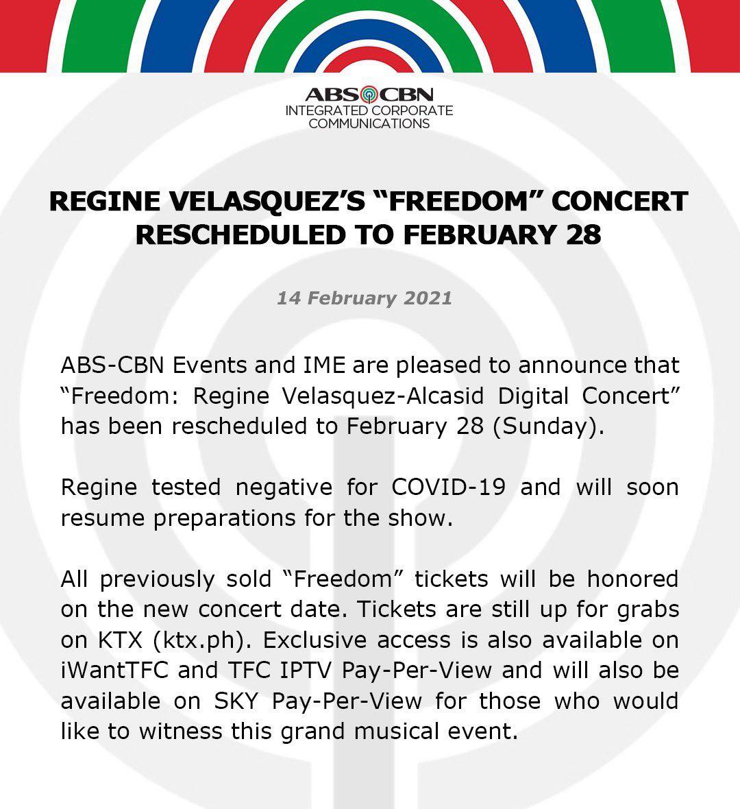 Regine Velasquez online Valentine's concert postponement statement