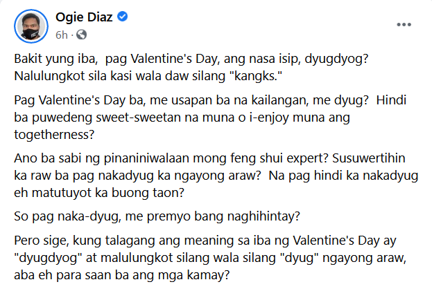 Ogie Diaz Valentine's Day 2021