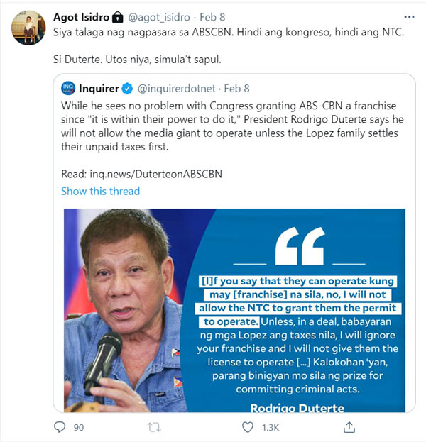 Agot Isidro comment on Rodrigo Duterte