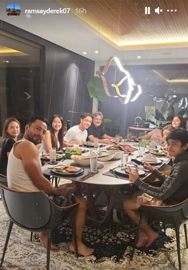 Derek Ramsay valentine's dinner with family and ellen adarna
