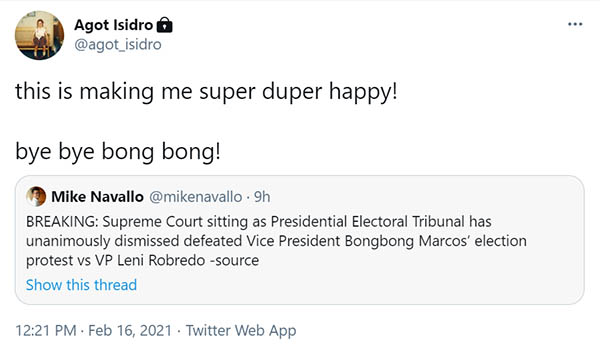 Agot Isidro rejoices over dismissal of Marcos vs Robredo poll protest