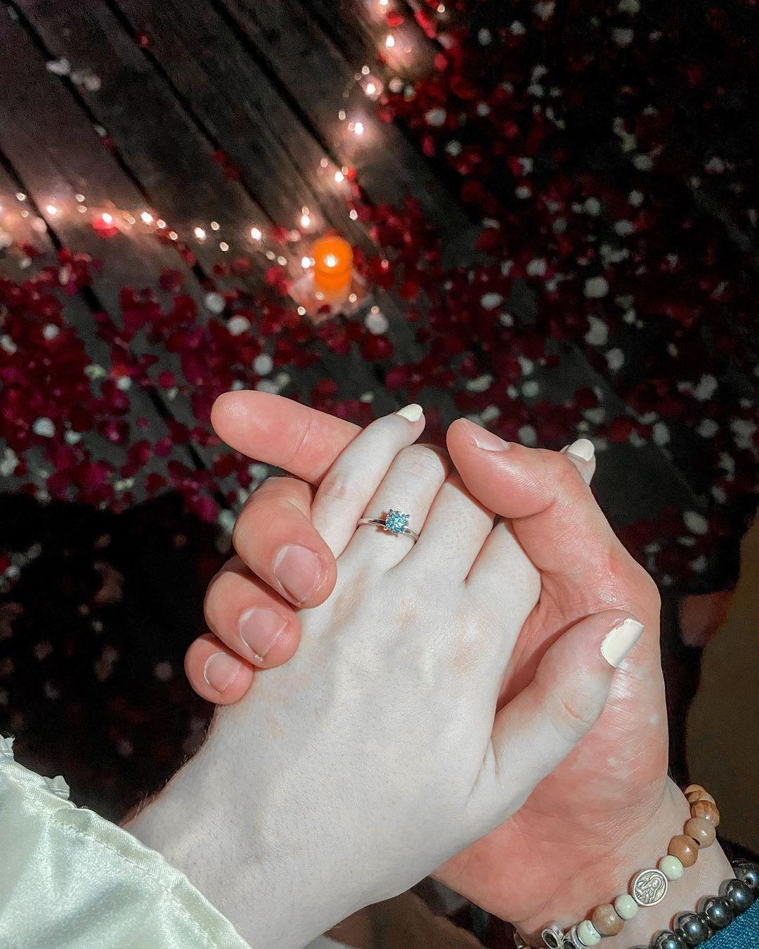 Vin Abrenica, Sophie Albert engagement ring photo
