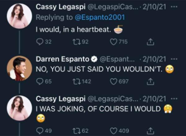 Cassy Legaspi replies to Darren tweet; Darren reacts