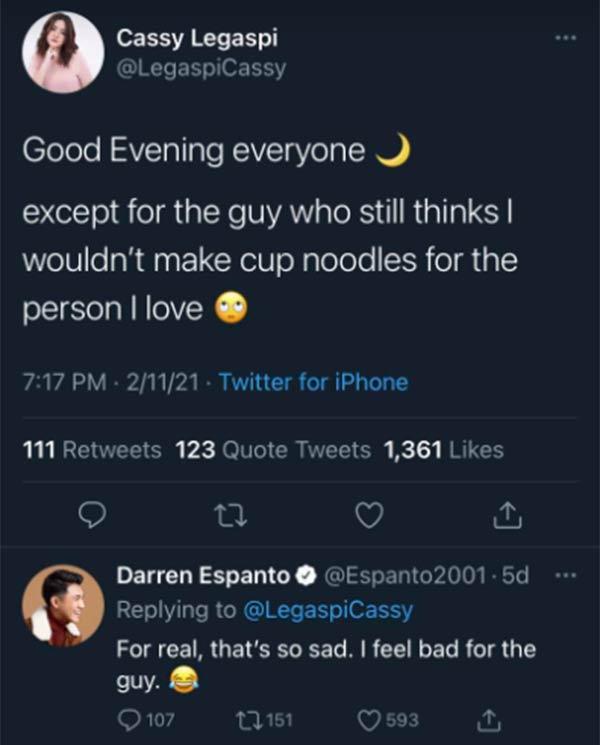 Cassy Legaspit, Darren Espanto tweet exchange