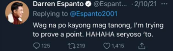 Darren Espanto explains that he is serious with the question