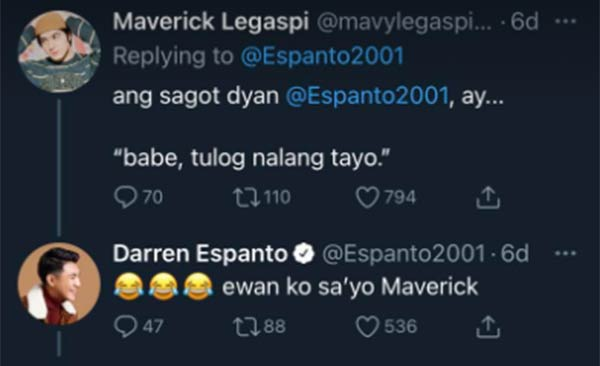 Cassy twin, Mavy Legaspi replies to Darren tweet; Darren comments back