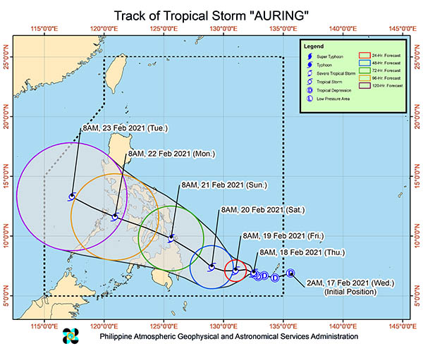 Track of Tropical Storm Auring
