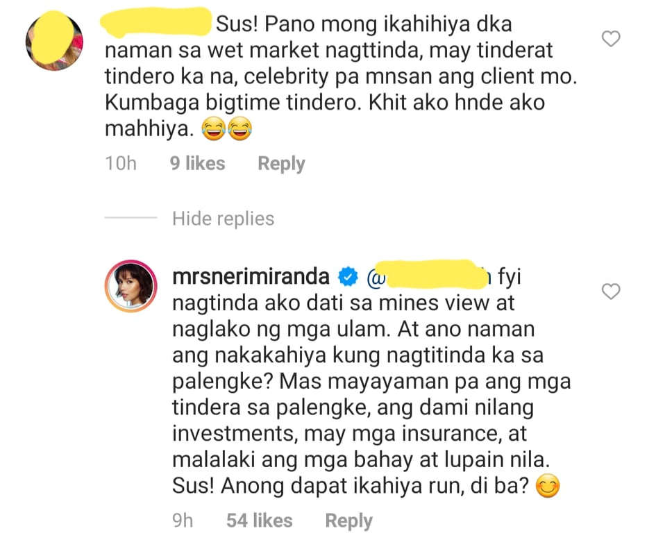 Netizen questions Neri Naig about being tindera