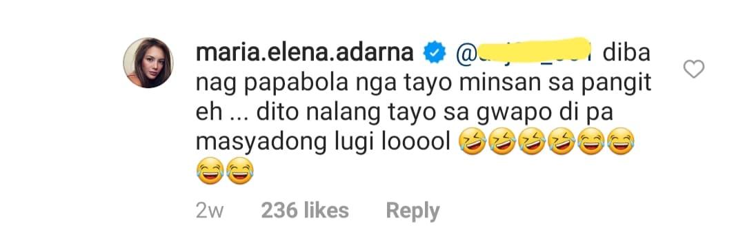 ellen adarna agrees to the netizen comment; calls derek handsome