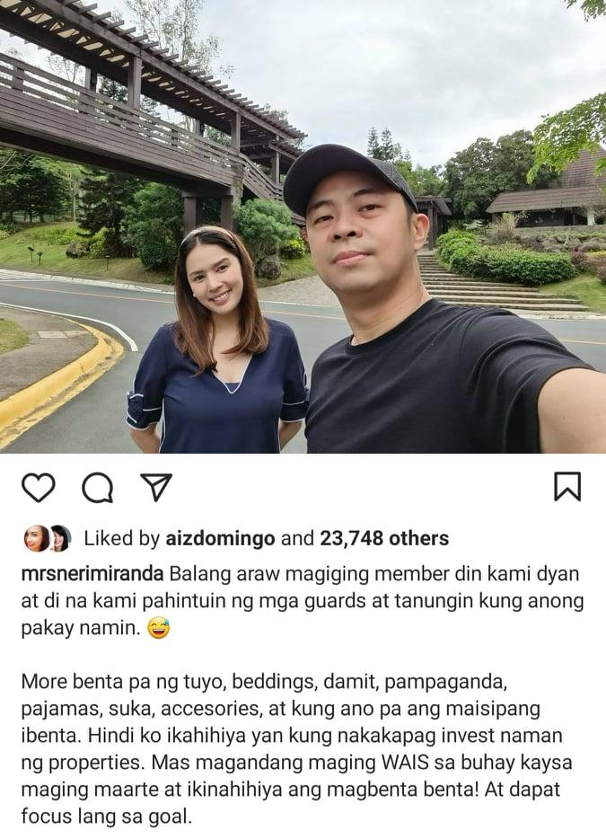 Instagram photo: Neri Naig, Chito Miranda in Tagaytay resort