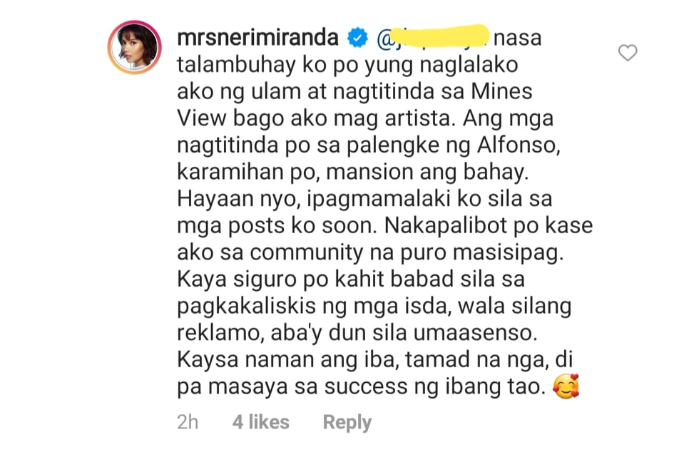 Neri Naig responds to netizen