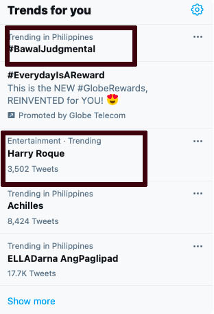 Harry Roque, Bawal Judgmental trends on Twitter
