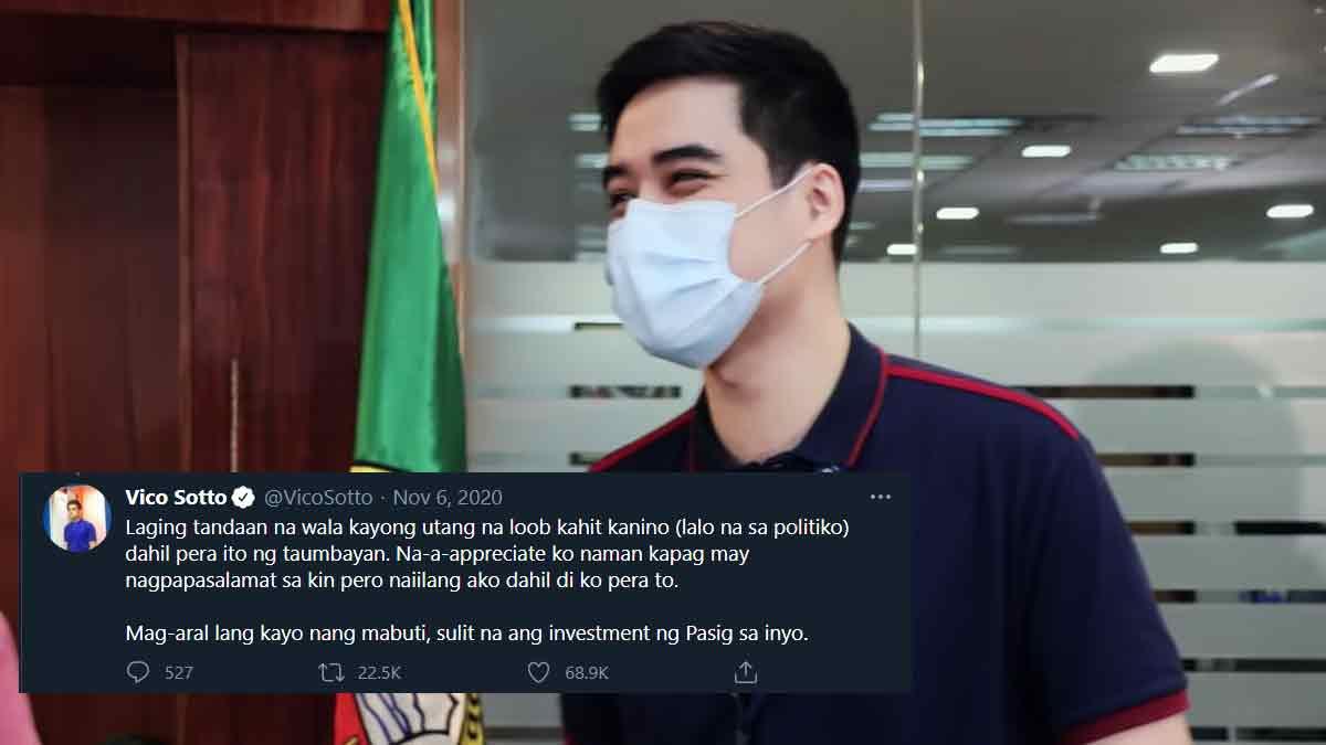 """Pasig City Mayor Vico Sotto reiterates statement: """"Wala tayong utang na loob sa politiko"""""""