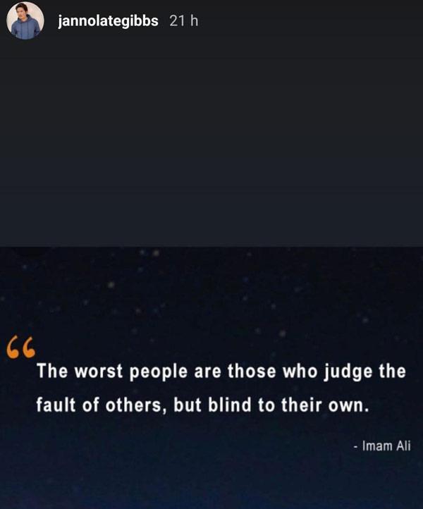 Janno Gibbs posts Imam Ali quote