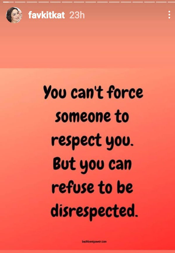 Instagram story: Kitkat posts quotes about respect