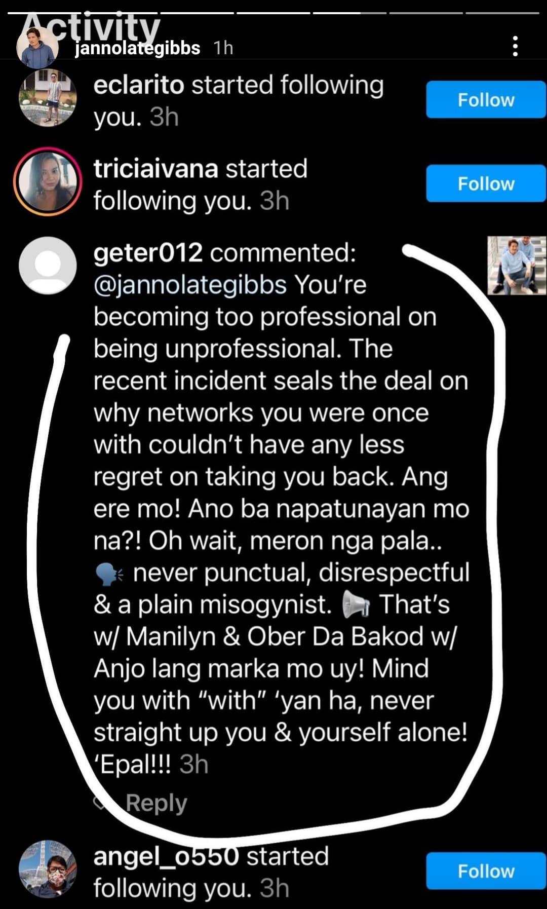 Instagram story: Janno Gibbs exposes basher amid cursing rumor