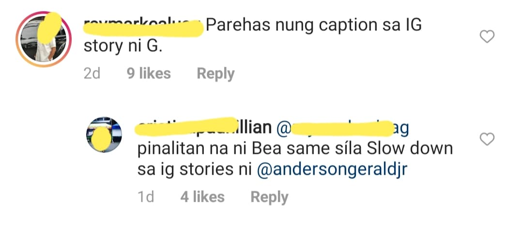 fans notice same IG caption of Gerald and Bea