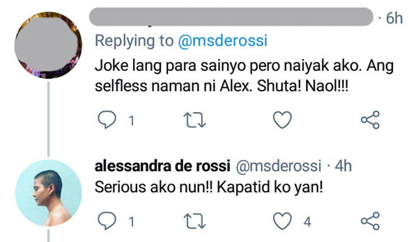 netizen applauds Alex for being selfless, Alex insists she is serious with her offer