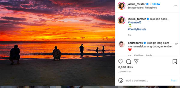 Jackie Foster posts vacation trip; Andre Paras reacts