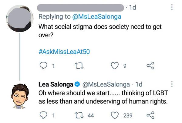 Netizen asks Lea about LGBT, Lea Salonga replies