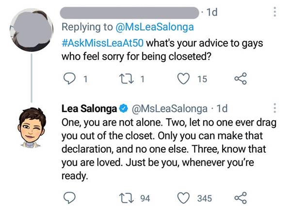 Lea Salonga gives advice to LGBT