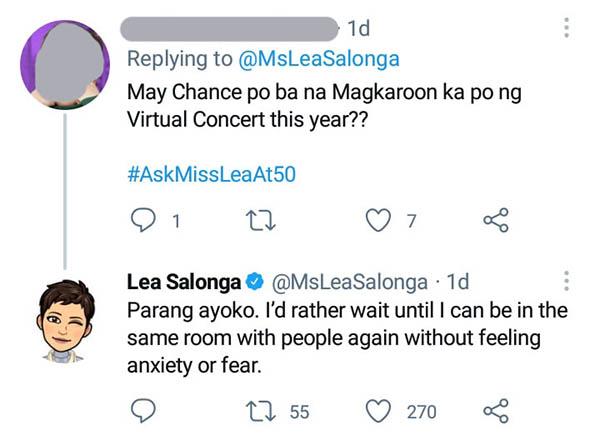Netizens ask Lea for a digital concert; Lea Salonga replies