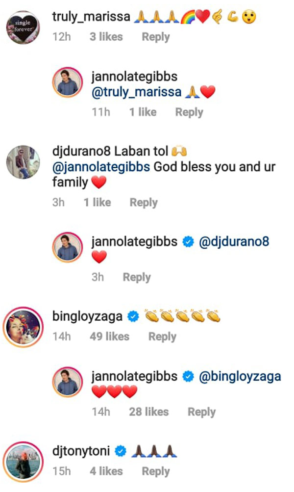 Wife Bing Loyzaga shows support to Janno Gibbs