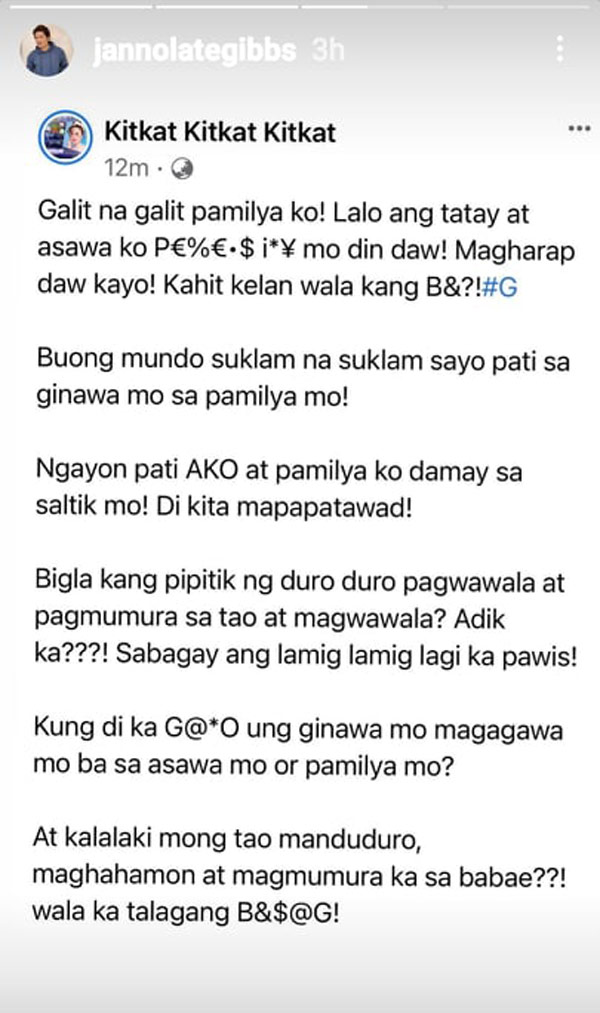 janno gibbs reposted kitkat deleted facebook post