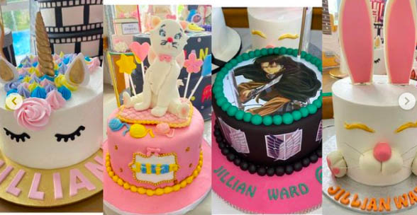 Unicorn and bunny designed cakes for Jillian