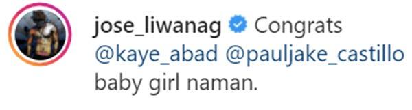 Carlo Aquino reacts to Kaye Abad's instagram post