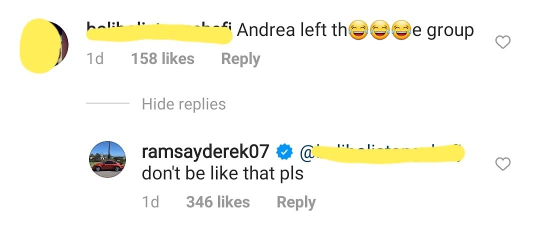 Instagram Comment: Derek Ramsay reacts to