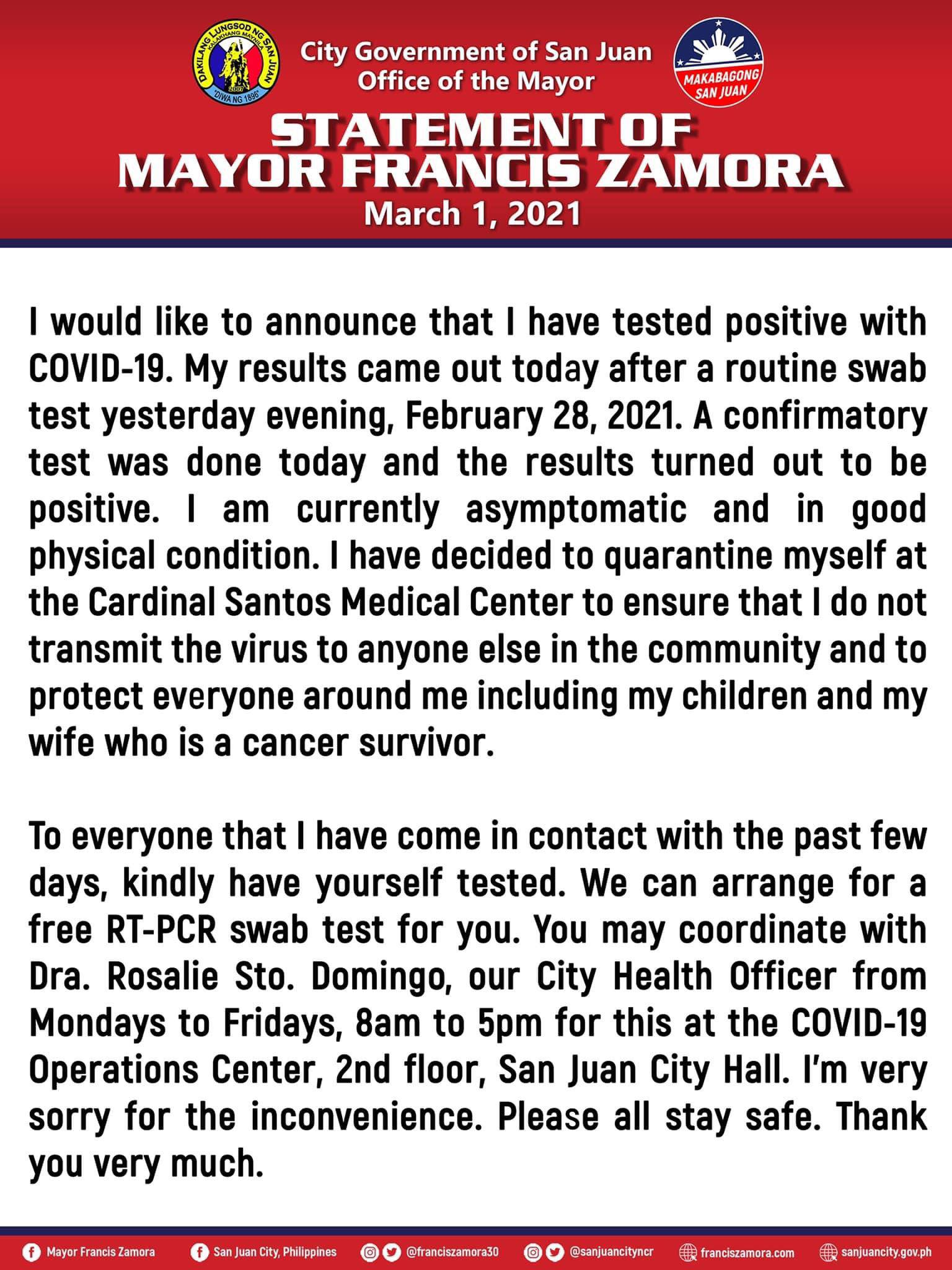 San Juan Mayor Francis Zamora official statement on COVID-19 condition