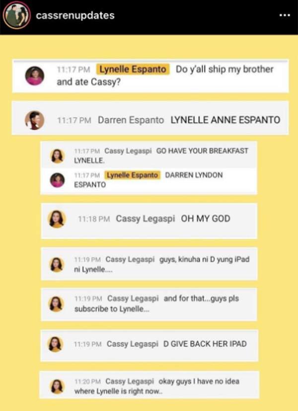Instagram Photo: Message exchange between Darren Espanto and Cassy Legaspi sister Lynelle