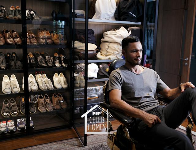 Derek Ramsay walk-in closet: leather shoes, bags, sneakers