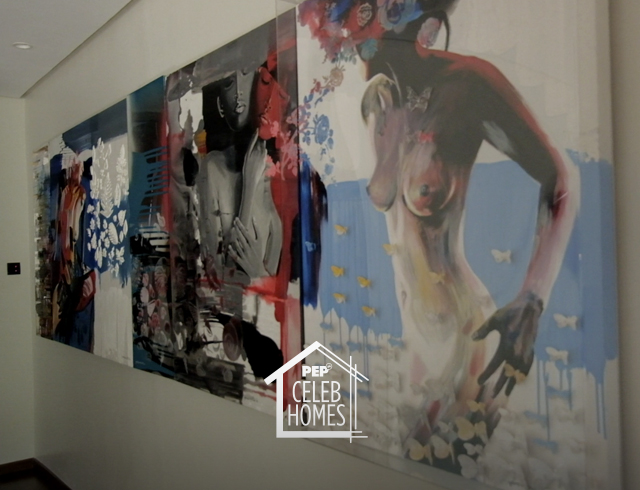 Derek Ramsay house art piece: mixed media painting by Ross Capili
