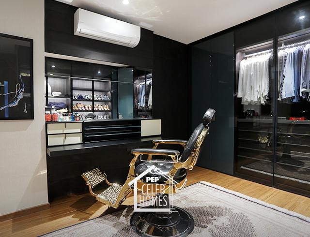 Derek Ramsay walk-in closet with barber's chair